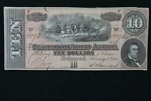 $10 1864 T 68 Confederate States of America genuine currency Richmond 54596 ppF