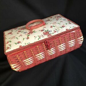 Vintage Dritz Sewing Basket Box 1950s 1960s Wicker Japan RARE Red Floral VGC $29.99