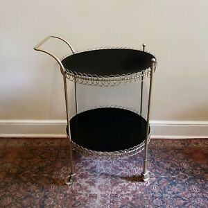 VINTAGE Rolling BAR CART Round Mid Century Period Metal and Wood 2 Tier EUC