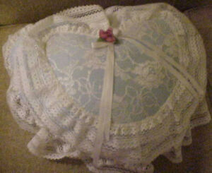 Handcrafted Decorative Pillow Blue Heart Covered with White Lace