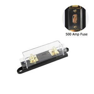 1x 500Amp Gold Plated Fuse Holder 0 2 4 Gauge In Out Inline Fuse Audio Protect $10.44