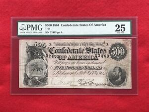 T 64 1864 $500 CSA Confederate Note quot;Stonewall Jacksonquot; *PMG 25 Very Fine*