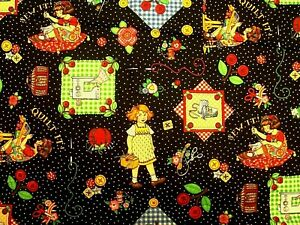 MARY ENGELBREIT GIRL SEWING ROOM SEW IT QUILT IT CRAFTS BLACK COTTON FABRIC FQ