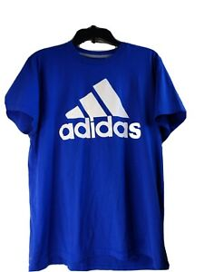 Adidas Classic Go To Tee Shirt Mens Used Size Large Blue 3 Stipe Climalite
