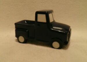 Target Small Navy Blue Vintage Look Ceramic Pick Up Truck Indented Truck Bed NEW