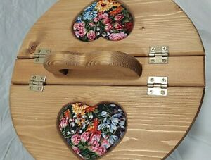 Vintage Sewing Basket Rare Heart Handle Collectible Flower Print Cloth Lined $40.00