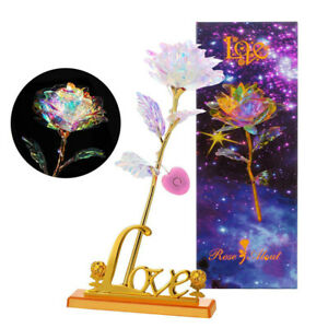LED Luminous 24K Gold Foil Rose Flower Galaxy Mothers Day Thanksgiving Day Gift