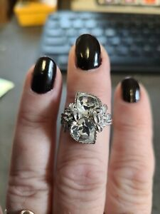 Vintage Sarah Coventry Love Story Silver Crystal Faceted Stones Hearts Ring $25.00