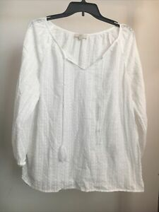 Womans L Large Ann Taylor Loft Pullover Top Long sleeve White 619 $9.99