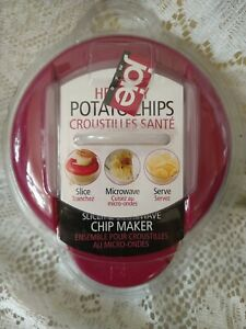 Joie Healthy Microwave Potato Chip Maker Slicer Cooker Red New Sealed