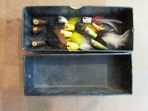 AMAZING LOT of 11 Antique fly Fishing poppers Creek chub Heddon? NICE OLD LURES