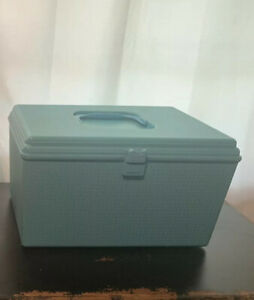 Vintage Wilson Wil Hold Vintage Sewing Boxes Plastic Lot Of 2 Turquoise Cream $50.00