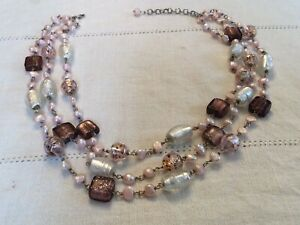 Dichroic glass bead triple strand necklace 18� $25.00