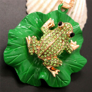 New Betsey Johnson Crystal Cute Green Frog Lotus Leaf Necklace Sweater Chain