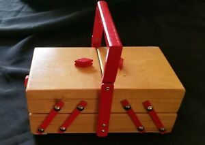 Vintage Wooden Multi Level Small Sewing Box and Misc Accessories Charming $29.00