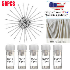 50PCS Home Sewing Machine Needle 11 7512 8014 9016 100 for Brother Singer Kit $7.28