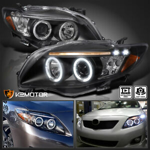 For 2009 2010 Toyota Corolla Black LED Halo Projector Headlights Lamps LR 09 10 $198.38