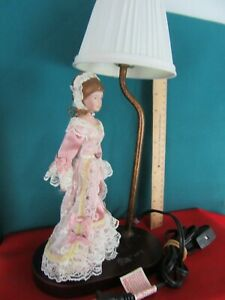 Vintage Old Table Boudoir Lamp Porcelain Lady Figurine in Pink Lace Gown Dress $24.99