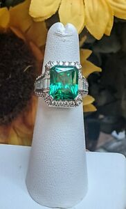 Victoria Wieck HSN Green Simulated Emerald Sterling Silver Ring Size 5 $75.00