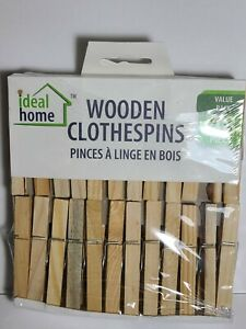 Wood Clothespins Wooden Laundry Clothes Pins Large Springs Regular 48 Pieces NEW $7.99