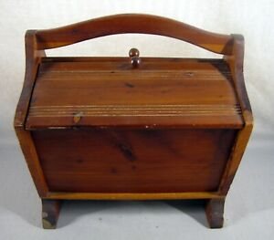 Antique Vintage Wooden Sewing Box Tote w Handle Double Doors Spool Holder $19.00