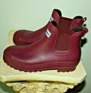 Romika Womens Rubber Rain Ankle Boot Bootie Size 40 Maroon 9.5 Made in Italy