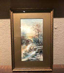 Antique Landscape Watercolor Painting in a Gold Frame NICE CONDITION ARTIST SI $30.00
