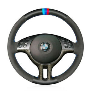 Hand Sewing Black Suede amp; PU Leather Steering Wheel Covers Wrap For BMW E39 E46 $49.99