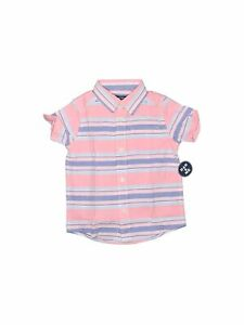 NWT The Childrens Place Boys Pink Short Sleeve Button Down Shirt 3T $12.99