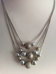 SILVER METAL BEAD TRIPLE STRAND NECKLACE PARTY GBP 8.98