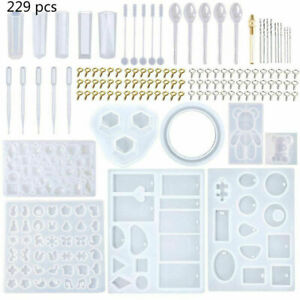 229Pcs Resin Casting Molds Kit Silicone Making Jewelry Pendant Mould Craft DIY