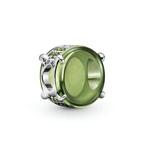 Pandora Authentic Silver S925 Green Oval Cabochon Bead Charm 799309 $20.99