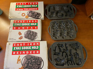 Lot of 3 Vintage Cast Iron Christmas Cookie Molds With Side Handles New $59.99