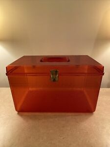 Vintage WIL HOLD Wilson Amber Plastic Sewing Box $14.50
