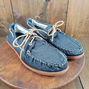 NEW SPERRY TOP SIDER for J. CREW 2 EYE ANCHOR Denim BOAT SHOES BLUE Size 12M $29.99