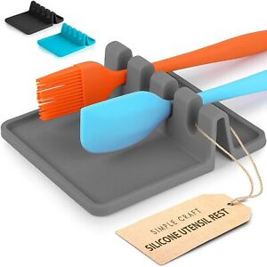 Simple Craft Heat Resistant Silicone Spoon Rest with Drip Pad 4 Slotted