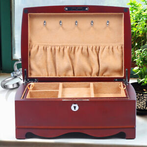 Vintage 2 Tiers Jewelry Storage Case Dressing Table Wooden Organizer Container $61.75