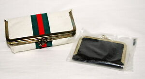 Vintage New Sewing Kits Manicure Vanity Purse Kisslock Leather Fabric Stripe $10.49