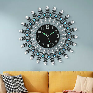 Luxury Crystal Large Wall Clock 3D Metal Living Room Wall Watch 12H Decor ↺ $50.36