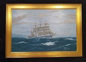 Antique Ship Painting Sailboat Seascape Original Oil Painting in Gold Frame $895.00