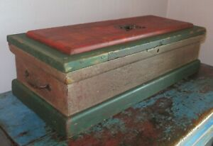 Antique Wooden Carpenter#x27;s Chest AAFA Old Red Green Paint Iron Handles $222.00