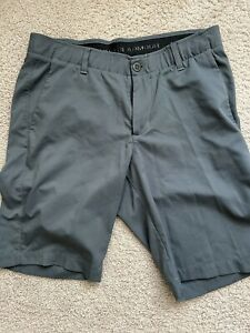 Mens Under Armour Golf Shorts 34 Stretch Tapered Gray $17.45