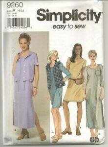 VTG Simplicity 9260 Easy Sewing Pattern Womens Dress Vest Sizes 10 22 UncutFF $7.99