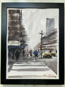 """ORIGINAL Watercolor Painting New York """"NYCquot; 9x12 by John Harrison $55.00"""
