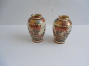 Pair of Small Antique Signed Satsuma Vases 3 3 4 Excellent