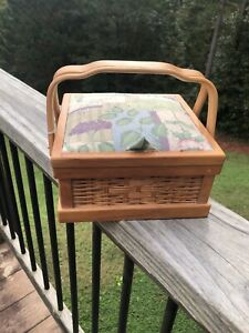 Vintage Wooden Sewing Basket Organizer Caddy Box Padded Cloth Top New $32.00