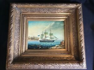 19thC Antique Buttersworth Style Vintage circa 1971 Seascape Oil Painting Ship $349.99