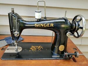 SINGER CAST IRON 103K CANVAS UPHOLSTERY SEWING MACHINE IN ORIGINAL TREADLE CAB $799.00