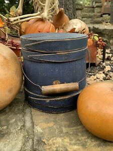 Primitive Antique WOODEN STAVED FIRKIN BUCKET BEAUTIFUL BLUE PAINT For Pantry $385.00