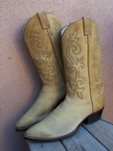 JUSTIN Mens Cowboy Western Boots Soft Natural Tan Leather Riding Sz Size 10.5D